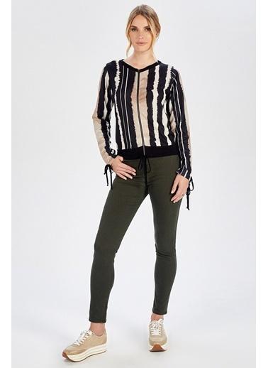 Peraluna Peraluna Çizgili Batik Baskılı Fermuarlı Kadın Triko Hırka Renkli